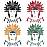 Native American chief man in tribal headdress with tomaha Stock Images