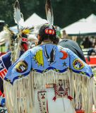 Native American beadwork. Intricately beaded ceremonial dress of one of the participating native Americans participating in the ceremonial dances performed by stock image
