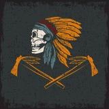 Native American chief skull in tribal headdress Stock Image