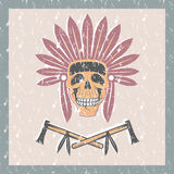 Native American chief skull in tribal headdress with toma Royalty Free Stock Images
