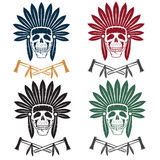 Native American chief skull in tribal headdress with toma Stock Photography