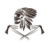 Native American chief skull in tribal headdress Royalty Free Stock Image