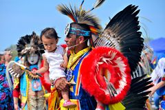 Native American and child Stock Photo