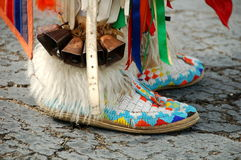 Native American Color. Colorful Native American boots with beadwork royalty free stock photos