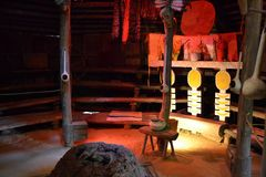 Native American Council House-Inside. Where tribal meetings and celebrations took place Stock Photo