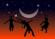 Native American Dancers. A vector image of Native American dancers dancing under the moon in stars Royalty Free Stock Images