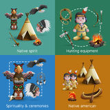 Native American Design  Icons Set Royalty Free Stock Photos