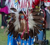 Native American dress at Oregon Pow wow. Native American dress with decorations at the Oregon Pow wow Stock Images