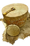 Native American Drums. Native American Drum with beaters on deer animal skin stock photos