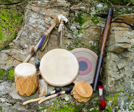 Drums with Rain Stick and Spirit Chaser. A Collection Native American Drums with Beaters, Rain Stick and Spirit Chaser Royalty Free Stock Images