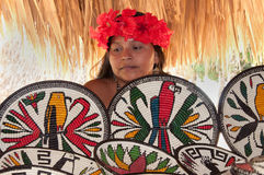 Native American from Embera Tusipono Tribe, Panama Royalty Free Stock Images