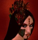 Native American fantasy art, The Dawn Warrior. Royalty Free Stock Photo