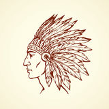 Native American with feathers. Vector drawing Stock Photos