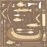 Native American fishing design elements - illustra Royalty Free Stock Photo
