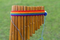 Native American flute Antara. Antara flute native American reed small Stock Photos