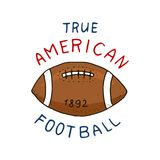 Native american football. game and sport. college play. old orange ball. label or badge. engraved hand drawn in old. Sketch Royalty Free Stock Photo