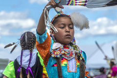 Native American girl at annual powwow. Coeur d'Alene, Idaho USA - 07-23-2016. Young dancers participate in the Julyamsh Powwow on July 23, 2016 at the Kootenai Stock Images