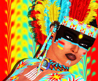 Native American girl with colorful feather headdress and abstract background. In our unique digital art style. Perfect for expressing themes of diversity Royalty Free Stock Photo