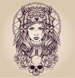 Native American girl with Wolf headdress.  stock illustration