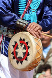 Native American hands on drum Royalty Free Stock Photos
