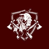 Native American head with axe vector royalty free illustration