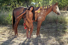 Native American and Her Horse Stock Photos