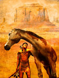 Native american and horse on grunge. Young indian with proud look, in the Navajo Nation, with his pinto horse, on a grunge background Stock Images