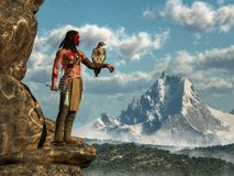 Native American Warrior and Hawk. A Native American hunter stands on the edge of a rocky cliff looking across a forested valley at a distant snow covered royalty free illustration