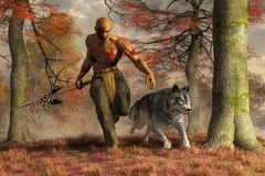 Native American Hunter and Wolf. A Native American hunter runs alongside a large timber wolf though the dry autumn grass. The man wears hide leggings and a loin royalty free illustration