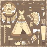 Native American hunting design elements - illustra Stock Photos