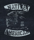 Native american illustration. Vintage typography Stock Photo