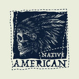 Native american illustration, vintage typography Stock Photos