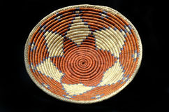 Native American Indian Basket on a Black Background Stock Images