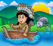 Native American Indian in boat. Color illustration Royalty Free Stock Photos
