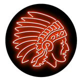Native American Indian Chief Glowing Neon Sign Circle. Retro illustration showing a 1990s glowing neon sign light signage lighting of a Native American Indian vector illustration