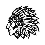 Native American Indian Chief head profile. Mascot sport team logo. Vector illustration Royalty Free Stock Image