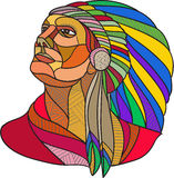 Native American Indian Chief Headdress Drawing Stock Photography