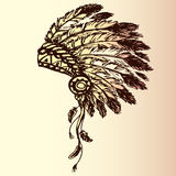 Native american indian chief headdress. (indian chief mascot, indian tribal headdress, indian headdress), hand drawing, vector Royalty Free Stock Images