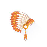 Native American Indian chief headdress with plumage. Side view. Vector Illustration Isolated on white background Stock Photos