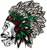 Native american indian chief headdress t-shirt graphics. Cool design Stock Photography