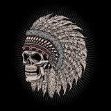 Native American Indian Chief Skull. Fully editable vector illustration (editable EPS) of native american indian chief skull  on black background, image suitable Stock Image