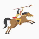 Native american indian chief with spear riding horse Royalty Free Stock Images