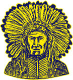 Native American Indian Chief Warrior Etching Royalty Free Stock Photography