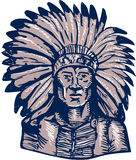 Native American Indian Chief Warrior Etching Stock Photos