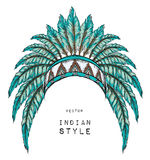 Native American Indian colored chief. Indian feather headdress of eagle. Royalty Free Stock Images