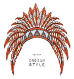 Native American Indian colored chief. orange roach. Indian feather headdress of eagle Royalty Free Stock Photos
