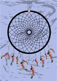 Native american indian dream catcher, traditional symbol. Bright card card with colored feathers and beads on white background. Native american indian dream vector illustration