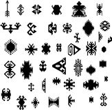 Native American Indian ethnic traditional geometric art design elements set Aztec Navajo tribal style pattern vector illustration Royalty Free Stock Photography