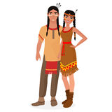 Native American Indian family. American Indians man and woman couple in traditional national clothes. Royalty Free Stock Photos