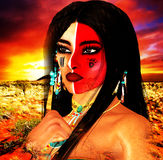 Native American Indian female Beauty, sunset background and painted face in our unique digital art style. Native American girl with colorful face paint and Royalty Free Stock Photos